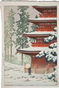 Books:Prints & Leaves, [Japanese Full-Color Print]. Scene of a Person with a Parasol inFront of a Temple. [N.p., n.d., ca. 1900]. Approximately 15...