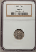 Three Cent Nickels: , 1871 3CN MS62 NGC. NGC Census: (19/152). PCGS Population (16/166).Mintage: 603,000. Numismedia Wsl. Price for problem free...