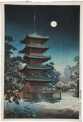 Books:Prints & Leaves, [Japanese Full-Color Print]. Scene of a Temple in the Moonlight.[N.p., n.d., ca. 1900]. Approximately 16.25 x 11 inches. Fi...