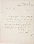 """Autographs:Military Figures, Judah P. Benjamin Letter Signed """"J. F. Benjamin.."""" One page, 8"""" x 10"""", Richmond, January 24, 1862, on """"Confederate Sta..."""