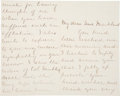 """Autographs:U.S. Presidents, Caroline Scott Harrison Autograph Letter Signed. Two and one-halfpages, 4.5"""" x 7"""", Indianapolis, August 18 [1886]. Harrison..."""