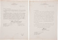 """Autographs:Celebrities, Charles A. Lindbergh Two Typed Letters to Trans World AirlinesChairman Charles C. Tillinghast Jr. Signed """"Charles (A. Lin...(Total: 2 Items)"""