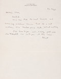 """Autographs:Inventors, J. Robert Oppenheimer Autograph Letter Signed Commenting on the Endof the War in Europe """"It is twelve years too late......"""