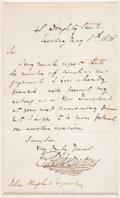 "Autographs:Authors, Charles Dickens. Autograph Letter Signed, ""Charles Dickens"", onepage, 4.375"" x 7.1875"", 48 Doughty Street, London, May 8, 1..."