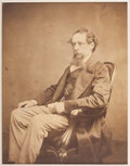 Autographs:Authors, Charles Dickens. Large Albumen Photograph. A lovely large-format albumen photograph of an aging Dickens, circa 1860s, seated...