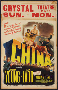 "China (Paramount, 1943). Window Card (14"" X 22""). War"