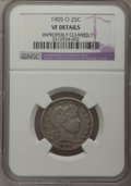 Barber Quarters: , 1905-O 25C --Improperly Cleaned--NGC Details. VF. NGC Census:(0/53). PCGS Population (5/95). Mintage: 1,230,000. Numismedia...