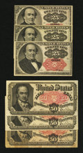 Fractional Currency:Fifth Issue, 25¢ and 50¢ Fifth Issue Fractionals.. ... (Total: 6 notes)