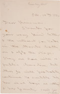 "Autographs:Authors, Louisa May Alcott Autograph Letter Signed ""L. M. A."" Alsosigned ""L. M. A."" in the body of the letter. Four pages,4..."