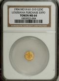 Expositions and Fairs: , 1904 Louisiana Purchase Gold So-Called 25 Cents MS64 NGC.Hendershott-61-310. This honey-gold example has a few spindly die...