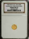 Expositions and Fairs: , 1904 Louisiana Purchase Gold So-Called Half Dollar MS63 NGC. MO H-61-320. A radiant lemon-gold piece with only a few trivial...