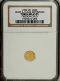Expositions and Fairs: , 1905 Lewis & Clark Exposition, 1/2 Gold Token, MS65 PL NGC. The obverse depicts Mount Hood with L & C EXPOS 1905 and the rev...