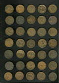 Counterstamps: , Counterstamped U.S. Large Cent Lot, Uncertified. Consists of 35 miscellaneous counterstamped large cents with various number... (Total: 35 tokens)