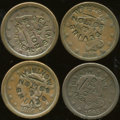 Counterstamps: , Counterstamped Large Cent Group Lot, Devins & Bolton Montreal. Consists of four U.S. large cents dated 1840, 1845, 1850, and... (Total: 4 tokens)