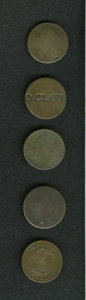 Counterstamps: , Counterstamped Group Lot. Consists of five unattributed U.S. large cents. The names counterstamped are Fitts, Drummond, O. C... (Total: 5 tokens)