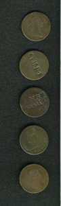 Counterstamps: , Counterstamped Group Lot of U.S. Large Cents. Consists of five different counterstamps. The dates and names included are: 17... (Total: 5 tokens)