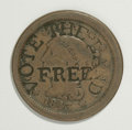 Counterstamps: , Vote The Land Free Counterstamped 1843 Large Cent. This is a well-known counterstamp of the Free Soil Party of the 1840s, li...