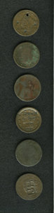 Counterstamps: , Counterstamped Group Lot. An uncertified and unattributed lot of six counterstamped coins, of which a couple are vintage cou... (Total: 6 tokens)