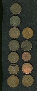 Counterstamps: , Counterstamped Coin Group Lot. An uncertified lot of 12 coins, all counterstamped with names, numbers, or letters. The first... (Total: 12 tokens)