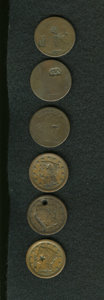 Counterstamps: , Counterstamped Group Lot, Uncertified. Consists of six unattributed counterstamped U.S. large cents. The dates range from 17... (Total: 6 tokens)
