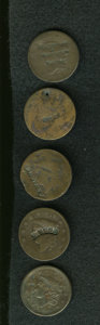 Counterstamps: , Counterstamped Group Lot. A lot of five counterstamped U.S. large cents, including three pieces attributed to Rulau and two ... (Total: 5 tokens)