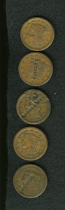 Counterstamps: , Counterstamped Group Lot. Consists of five attributed, counterstamped U.S. large cents. The following merchants or individua... (Total: 5 tokens)