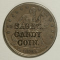 Counterstamps: , Counterstamped Pair of Sage's Candy Coin Group Lot. An 1874 Arrows Seated Liberty quarter and an 1874 Arrows Seated half, bo... (Total: 2 tokens)