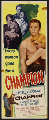 "Champion (United Artists, 1949). Insert (14"" X 36""). Sports Drama"