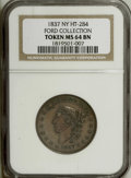Hard Times Tokens: , 1837 George A. Jarvis, New York, NY, MS64 Brown NGC. Ex: Ford Collection. Low-123, HT-284. A mildly prooflike chocolate-brow...