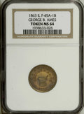Civil War Merchants: , 1863 George B. Ames, Belvidere, IL, Fuld-IL-45A-1b, R.2, MS64 NGC.Brass. A nice example with a deep orange patina covering ...