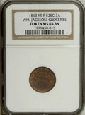 Civil War Merchants: , 1863 Wm. Jackson, Jackson, MI, MS65 Brown NGC, Fuld-MI525C-3a, R.9,a beautifully preserved piece with a red and brown obver... (Total:3 tokens)