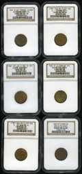 Civil War Merchants: , 1863 Benjamin & Herrick, Albany, NY, MS64 Brown NGC,Fuld-NY10A-1a, R.2, a thin vertical line between the 42 in thestreet a... (Total: 6 tokens)