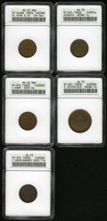 Civil War Merchants: , Undated D.L. Wing, Albany, NY, MS63 Brown ANACS, Fuld-NY10H-3aa,R.4, a lovely chestnut-brown piece that retains mint gold w...(Total: 5 Items)