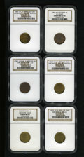 Civil War Merchants: , 1863 Broas Pie Baker, New York, NY, MS63 NGC, Fuld-NY630M-1b, R.2,a well preserved yellow-green piece with a strike-through...(Total: 6 tokens)
