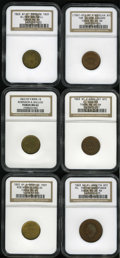 Civil War Merchants: , Undated Tom Cullen, New York, NY, MS64 Brown NGC, Fuld-NY630S-4a,R.2, an olive-tan piece with ample peripheral mint orange;...(Total: 6 tokens)