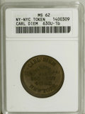 Civil War Merchants: , Undated Carl Diem, New York, NY, MS62 ANACS, Fuld-NY630U-1b, R.7,rare in brass alloy, an unmarked olive-gold example with s...(Total: 2 tokens)