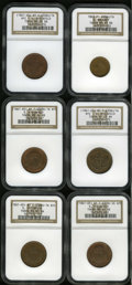 Civil War Merchants: , 1863 B. Maloney, New York, NY, MS65 Red and Brown NGC,Fuld-NY630AU-1a, R.2, a glossy sea-green and yellow-gold token;Und... (Total: 6 tokens)