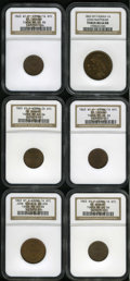 Civil War Merchants: , 1863 John Matthews, New York, NY, MS64 Red and Brown NGC,Fuld-NY630AV-1a, R.4, iridescent apricot and lime toning, larged... (Total: 6 tokens)