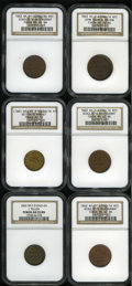 Civil War Merchants: , 1863 John Schuh, New York, NY, AU58 NGC, Fuld-NY630BM-1a, R.1, roseand olive-green toning; 1863 Edwd. Schulze, New York,... (Total: 6tokens)