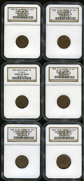 Civil War Merchants: , Civil War Store Card Group Lot. All from New York, NY. Consists of:an 1863 Wm. F. Warner, Fuld-NY-630CB-1a, R.3, two pi... (Total: 6tokens)