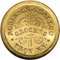 Civil War Merchants: , 1863 Robinson and Ballou, Grocers, Troy, NY, Fuld-NY-890E-9b, R.2,MS66 NGC. Brass. Another super example of a high grade Ci...