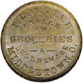 Civil War Merchants: , 1863 P.L. Potter, Grocer, Middletown, OH, Fuld-OH-555A-4i, R.9,MS62 NGC. Zinc. A scarce merchant token and the only one lis...