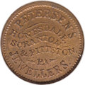 Civil War Merchants: , 1863 Petersen's Jewellers, Honesdale, PA, Fuld-PA-464A-2a, R.8,MS64 Red and Brown NGC. Copper. A pleasant Uncirculated exam...