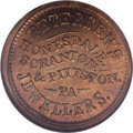 Civil War Merchants: , 1863 Petersen's Jewellers, Honesdale, PA, Fuld-PA-464a-2b, R.8,MS64 NGC. Brass. A nice example from this prolific issuer of...