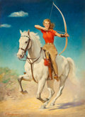 Mainstream Illustration, FREDERICK SANDS BRUNNER (American, 1886-1954). The Archer, StarWeekly magazine cover, October 16, 1948. Oil on canvas. ...(Total: 2 Items)