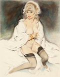 Pin-up and Glamour Art, FRITZ WILLIS (American, 1907-1979). Woman in Stockings.Watercolor and pastel on paper. 22.5 x 17.5 in.. Signed lower ri...