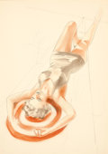 Pin-up and Glamour Art, ALBERTO VARGAS (American, 1896-1982). Tanning study.Watercolor, pencil, and pastel on paper. 13 x 9.5 in.. Not signed....