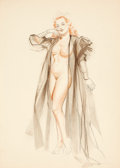 Pin-up and Glamour Art, ALBERTO VARGAS (American, 1896-1982). Negligee study. Mixedmedia on paper. 13.25 x 9.25 in.. Not signed. ...