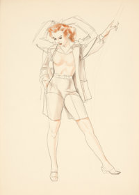 ALBERTO VARGAS (American, 1896-1982) Blouse study Pastel, watercolor, and pencil on paper 13 x 9