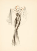 Pin-up and Glamour Art, ALBERTO VARGAS (American, 1896-1982). Evening Dress study.Pencil, pastel, and colored pencil on paper. 13.25 x 9.5 in....
